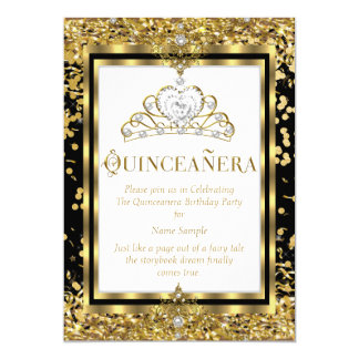 Regal Princess Quinceanera 15th Gold Black White Card