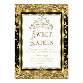 Regal Princess Sweet 16 Gold Black White Party Card