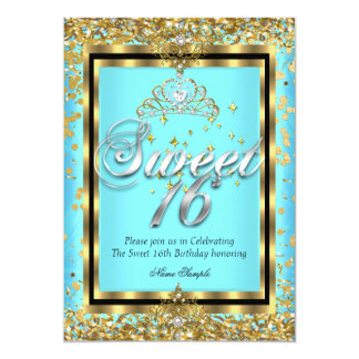 Regal Princess Sweet 16 Gold Teal Blue Party Card