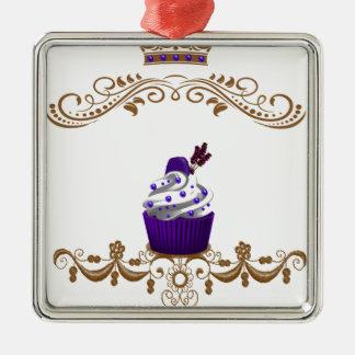 Regal Purple Cupcake Metal Ornament