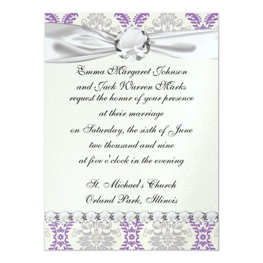 regal purple gray and cream damask design card