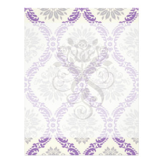 regal purple gray and cream damask design flyer