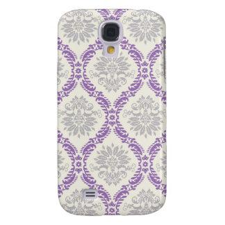 regal purple gray and cream damask design galaxy s4 case
