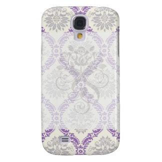 regal purple gray and cream damask design galaxy s4 cover