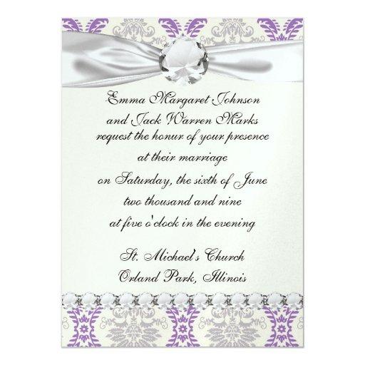 regal purple gray and cream damask design personalized invitations
