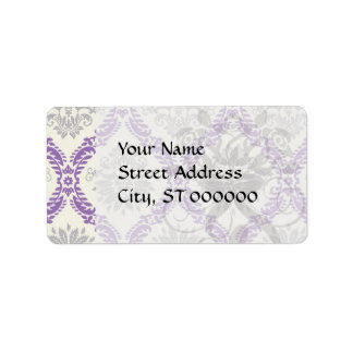 regal purple gray and cream damask design personalized address labels