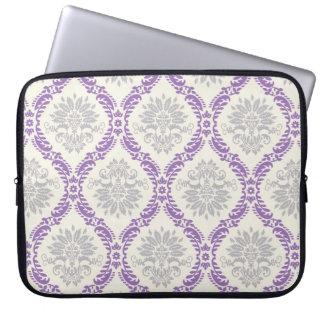 regal purple gray and cream damask design laptop sleeve