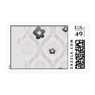 regal purple gray and cream damask design postage