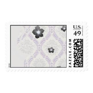 regal purple gray and cream damask design stamp