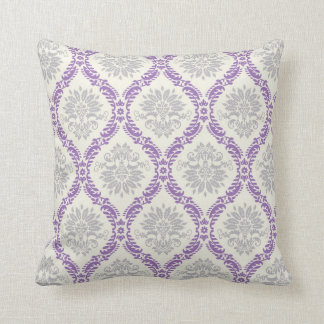 regal purple gray and cream damask design throw pillow