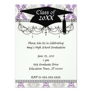 regal purple gray and cream damask graduation card