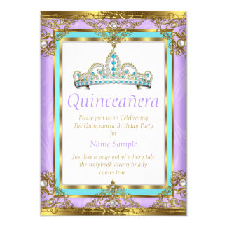 Regal Purple Teal Quinceanera Gold White Pearl Card
