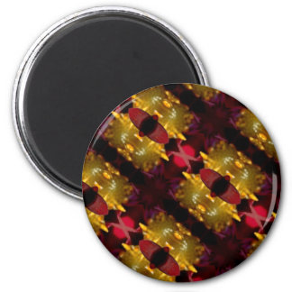 Regal Red And Gold  Abstract Photographic Pattren Magnet