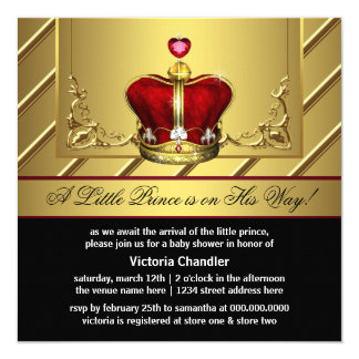 Regal Red and Gold Crown Prince Baby Shower Invitations