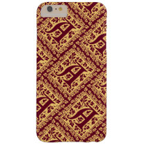 Regal Red and Gold Renaissance Monogram A Barely There iPhone 6 Plus Case
