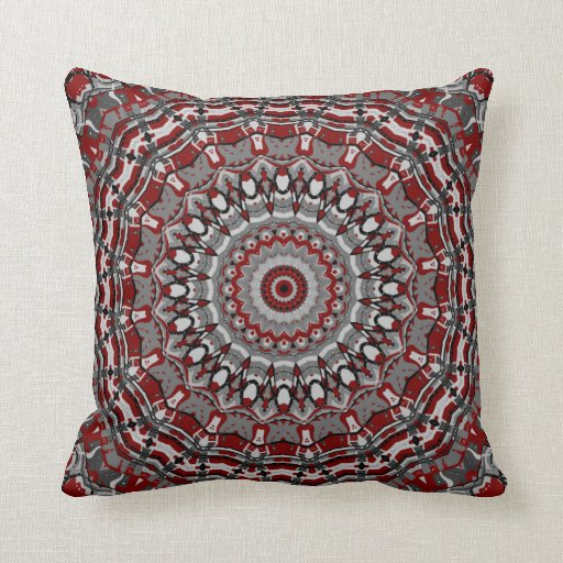Regal Red and Gray Kaleidoscope Pillow in 2 Sizes