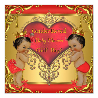 Regal Red Gold Gender Reveal Baby Shower Ethnic Card