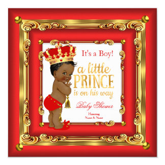 regal red gold prince baby shower ethnic boy card