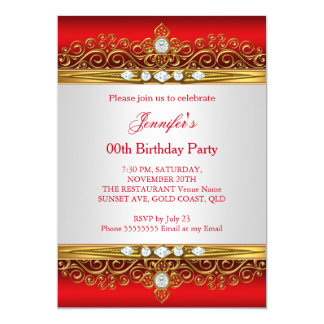 Red Gold Diamond Birthday Party Invitations Announcements Zazzle - Birthday invitation gold coast