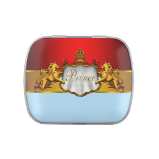 Regal Red Prince Baby Shower Candy and Mints Jelly Belly Tin