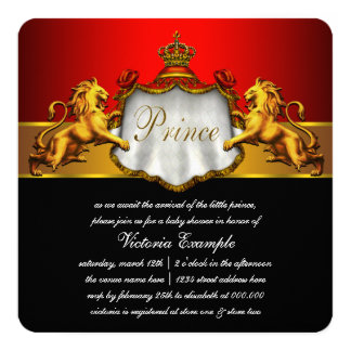 Regal Red Prince Baby Shower Custom Invitation