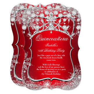 Regal Red Quinceanera 15th Winter Wonderland Card