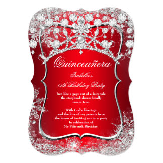 Regal Red Quinceanera 15th Winter Wonderland Card