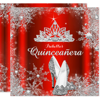 Regal Red Quinceanera Silver Tiara 15th Birthday Card