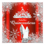 Regal Red Quinceanera Silver Tiara 15th Birthday Personalized Invites