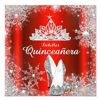 Regal Red Quinceanera Silver Tiara 15th Birthday 5.25x5.25 Square Paper Invitation Card