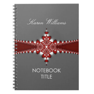 Regal Red Ribbon Silver Notebook