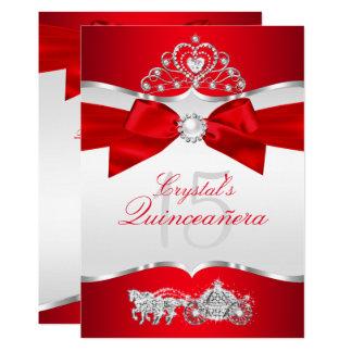 Regal Red Silver Tiara Pearl Bow Quinceanera Card