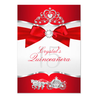 Regal Red Silver Tiara Pearl Bow Quinceanera Card