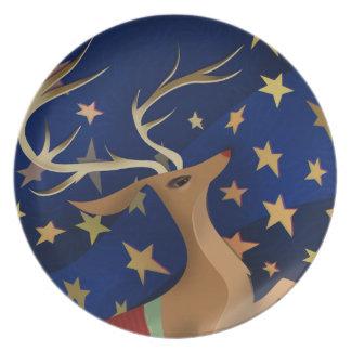 Regal Reindeer Melamine Plate