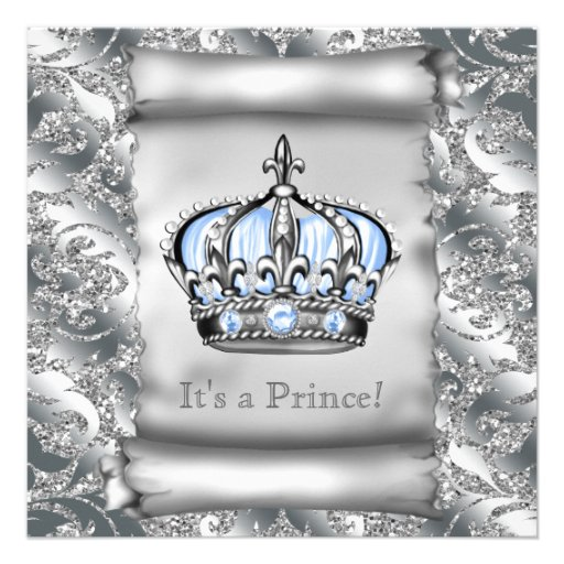 regal royal blue prince baby shower square paper invitation