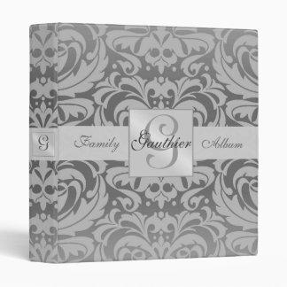 Regal Silver Monogram Damask Family Album Binder