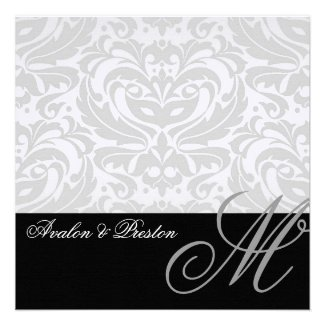 Regal Silver Monogram Damask Wedding Invitation