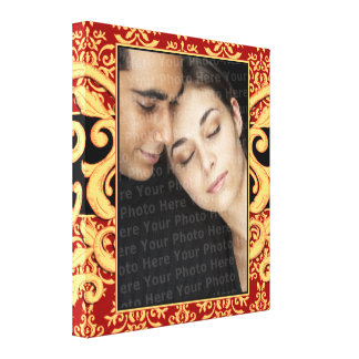 Regal Wedding Portrait Damask Frame Canvas Print