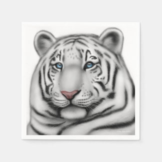 Regal White Bengal Tiger Paper Napkins