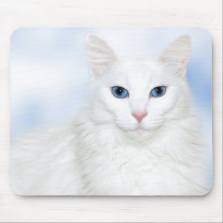 Regal white cat mouse pad