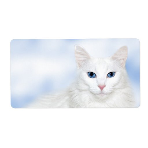 Regal white cat shipping label