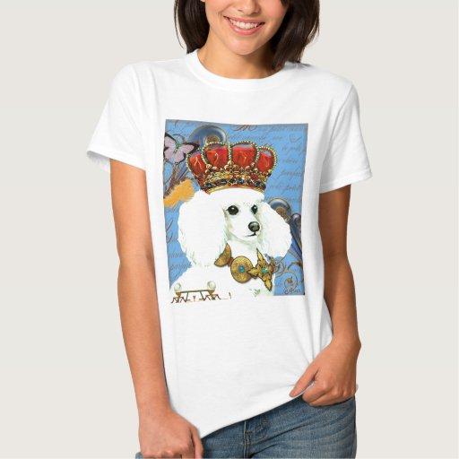 Regal White Poodle with Crown portrait T-Shirt