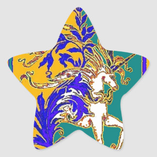 Regal White Unicorn Gifts by Sharles Star Sticker