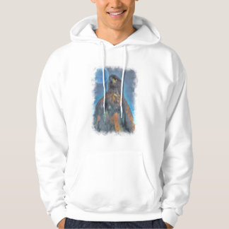Regal Young Bald Eagle and Moon Painting Hoodie