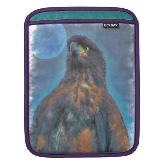 Regal Young Bald Eagle and Moon Painting iPad Sleeve