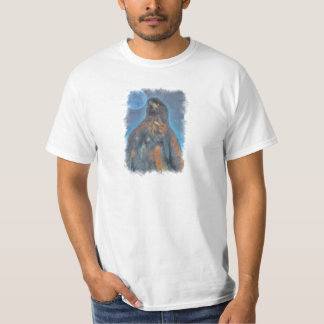 Regal Young Bald Eagle and Moon Painting T-Shirt