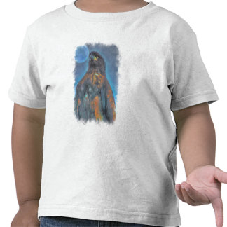 Regal Young Bald Eagle and Moon Painting Tee Shirt