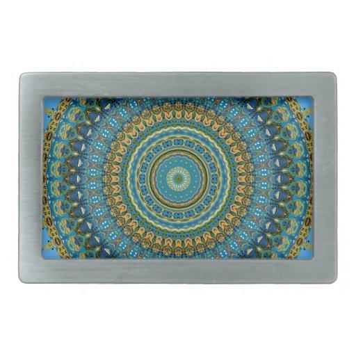 Regalia Aqua Blues Kaleidoscope No. 5 Rectangular Belt Buckle