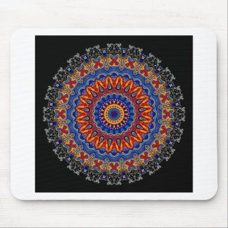 Regalia Red Orange and Blue Kaleidoscope Mouse Pads