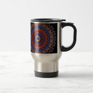 Regalia Red Orange and Blue Kaleidoscope Travel Mug
